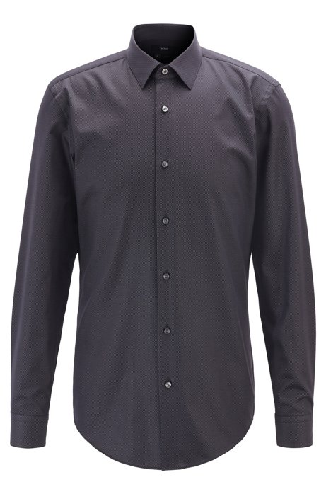 Slim-fit shirt in micro-dot stretch cotton, Black