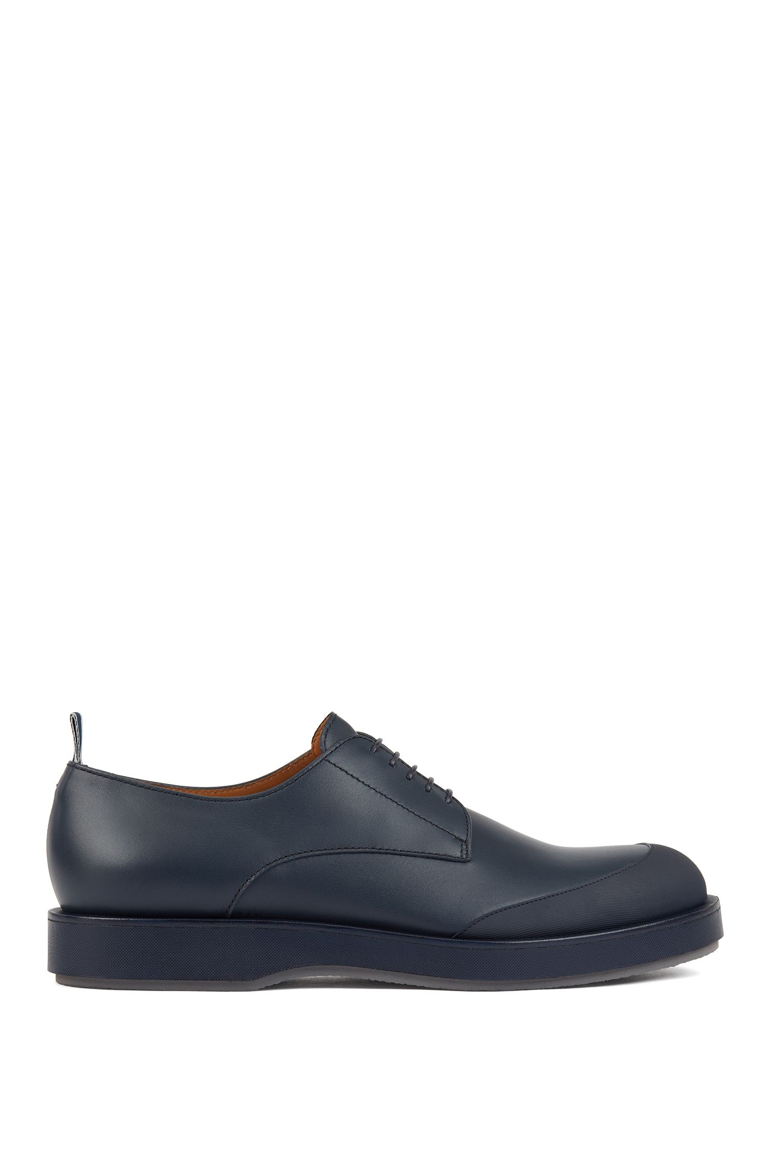 Derby shoes in polished leather with EVA-rubber outsole, Dunkelblau