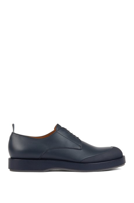 Derby shoes in polished leather with EVA-rubber outsole, Bleu foncé