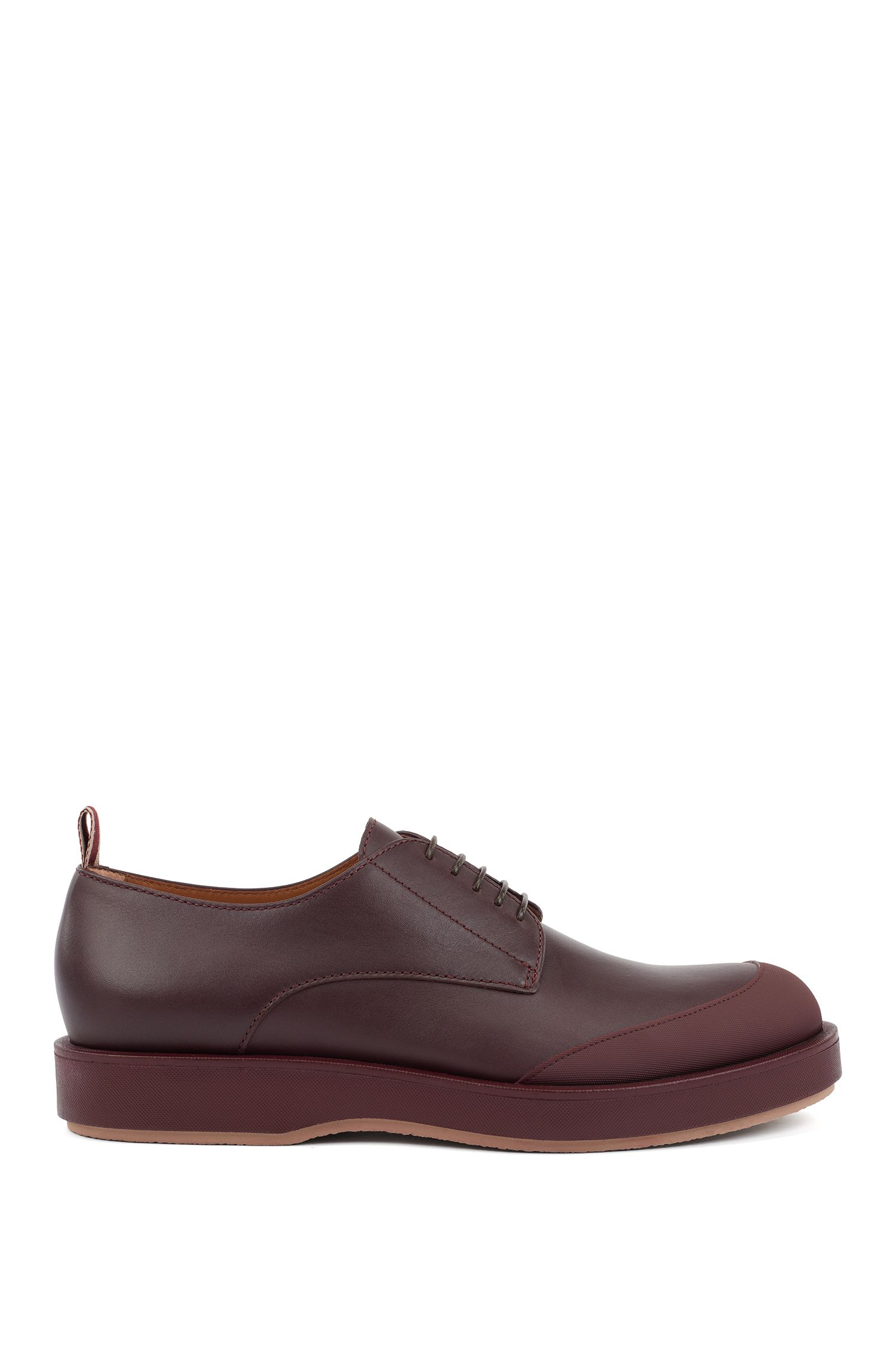 Derby shoes in polished leather with EVA-rubber outsole, Dunkelrot