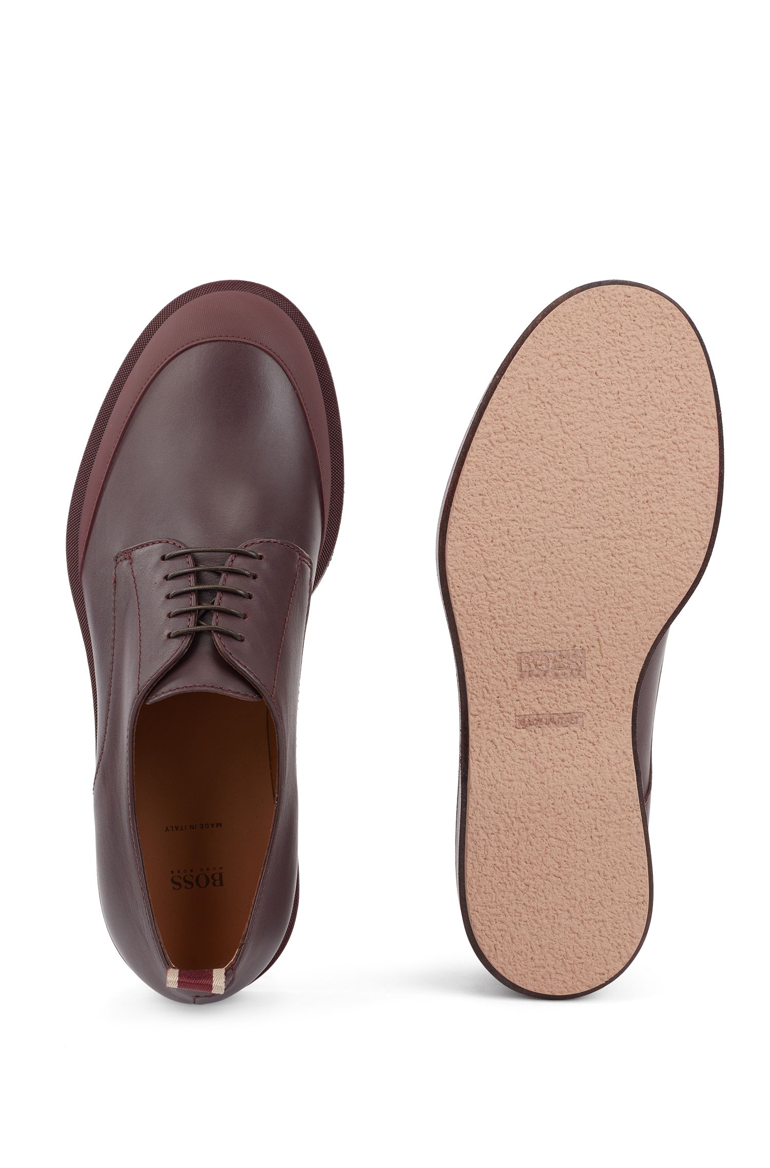 Derby shoes in polished leather with EVA-rubber outsole, Rouge sombre