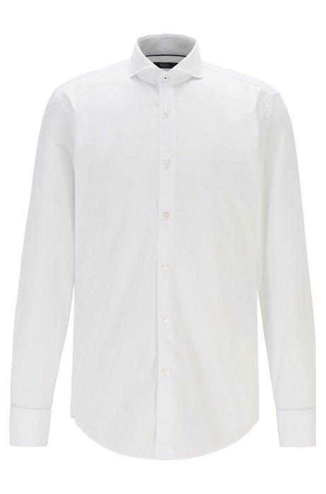 Camisa slim fit en sarga de algodón con ribeteado en contraste, Blanco