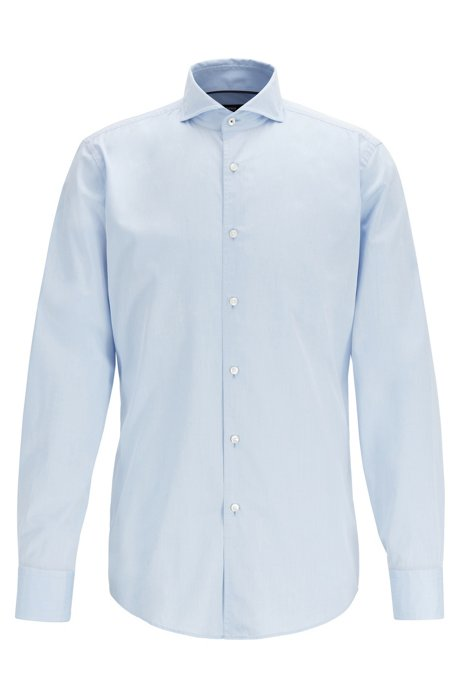 Slim-fit cotton-twill shirt with contrast piping, Light Blue