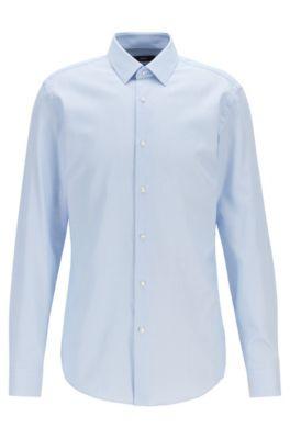 Camicia slim fit in twill di cotone microstrutturato, Celeste