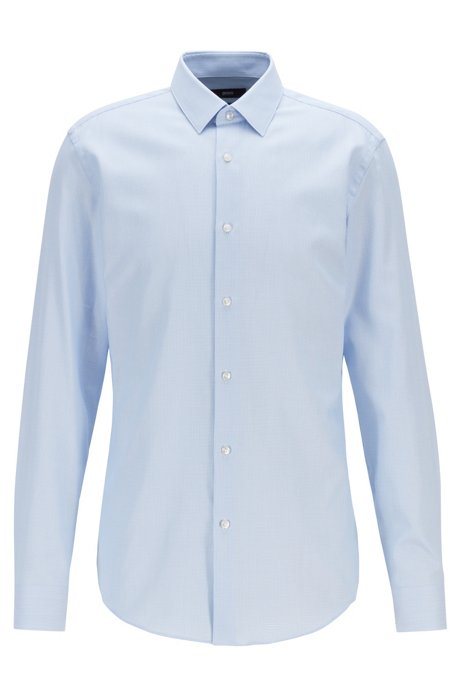 Slim-fit shirt in micro-structured cotton twill, Light Blue