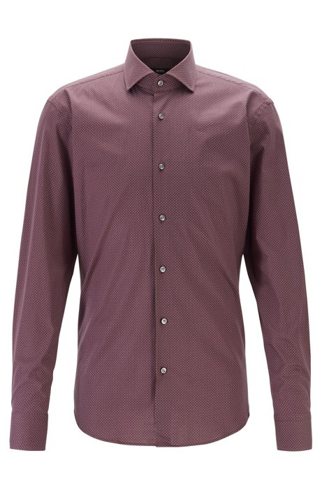 Regular-fit shirt in patterned stretch cotton, Dark Red