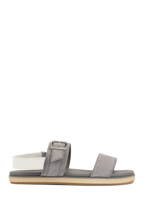 Sandals with suede straps and touch-fastening closure, Grigio