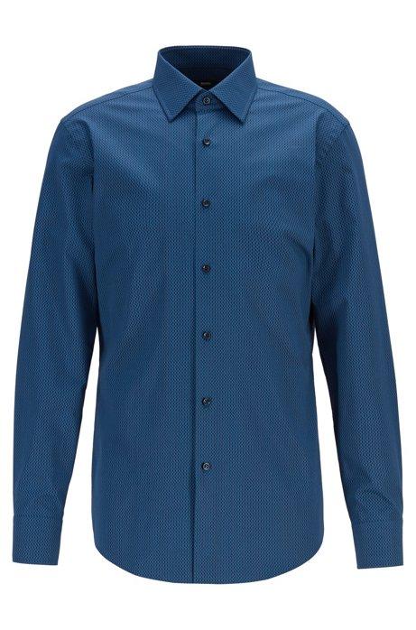 Camisa slim fit con microestampado de monograma en satén de algodón, Azul oscuro