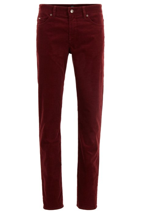 Slim-fit jeans in stretch-cotton corduroy, Dark Red