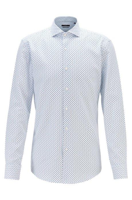 Slim-fit shirt in geometric-print cotton, Light Blue
