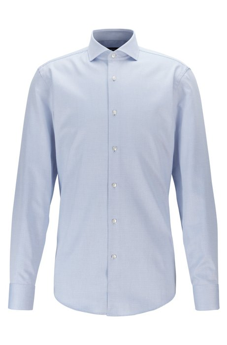 Slim-fit Italian-cotton shirt with all-over structure, Blue