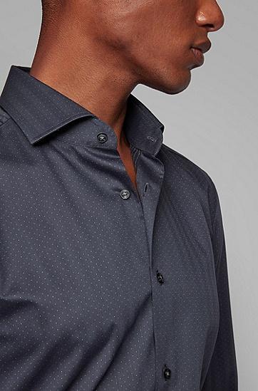 商务休闲波点印花长袖衬衫,  061_淡灰色