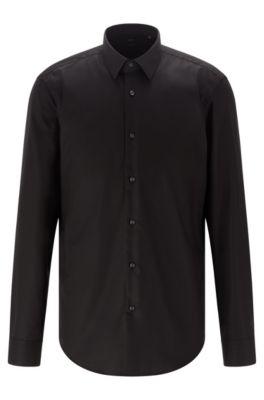 Camisa regular fit en algodón de planchado fácil, Negro