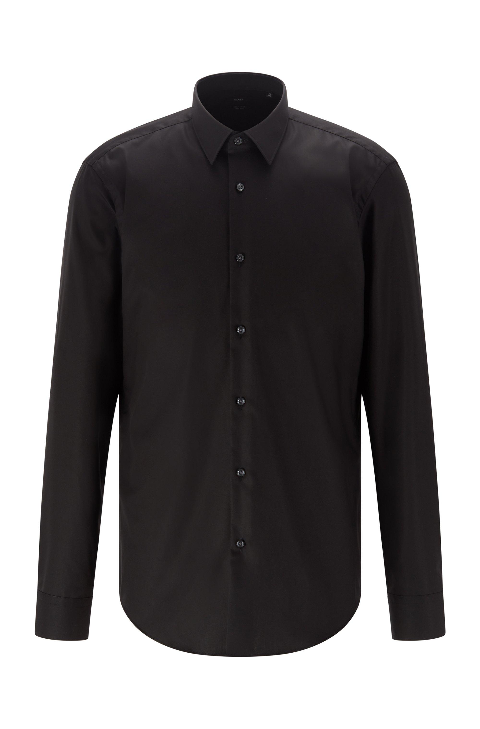 Regular-Fit Hemd aus bügelleichter Baumwolle, Schwarz