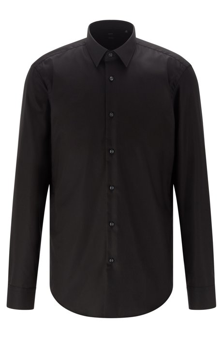 Regular-fit shirt in easy-iron Austrian cotton, Black