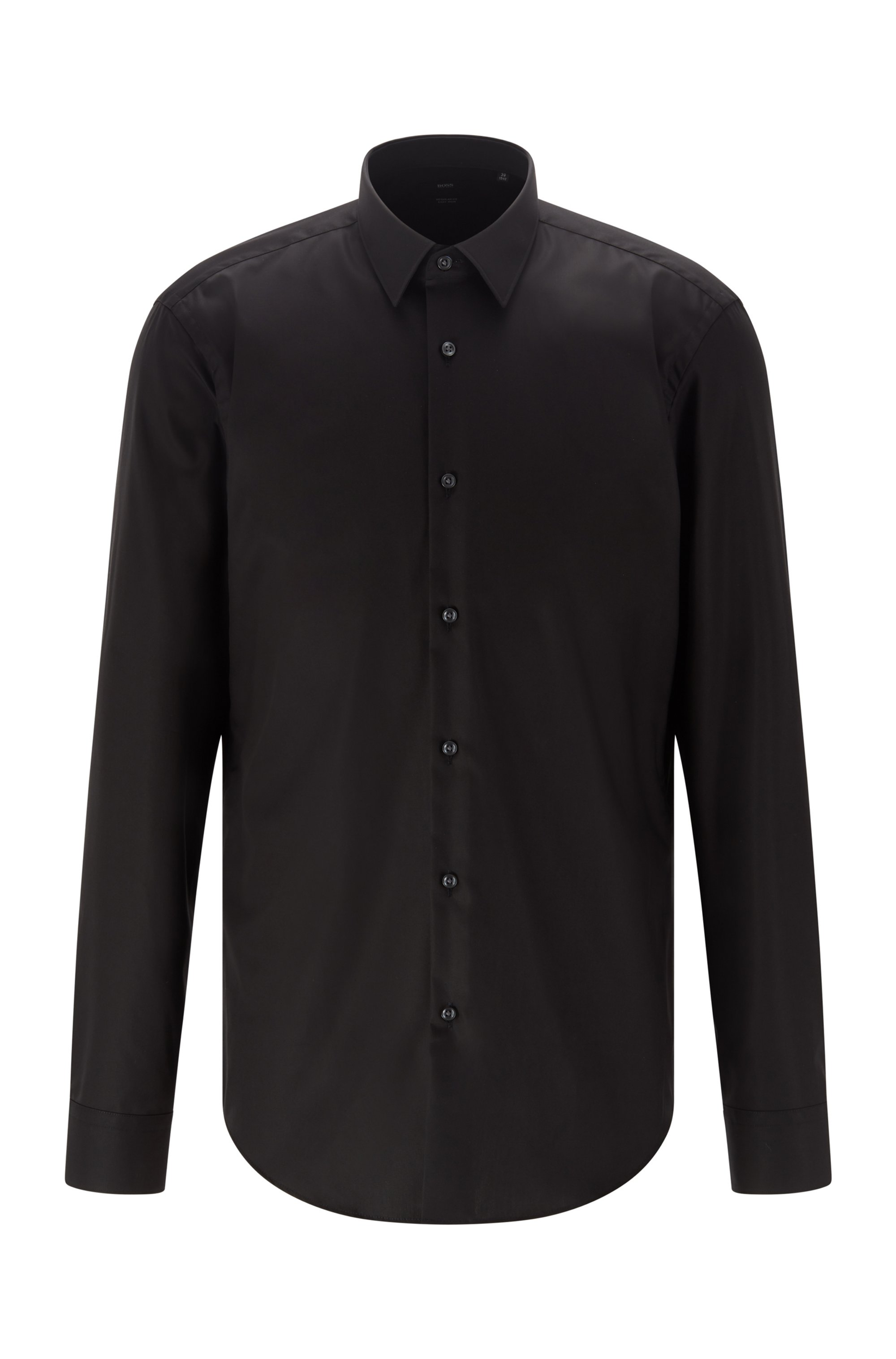 Regular-fit shirt in easy-iron cotton, Black