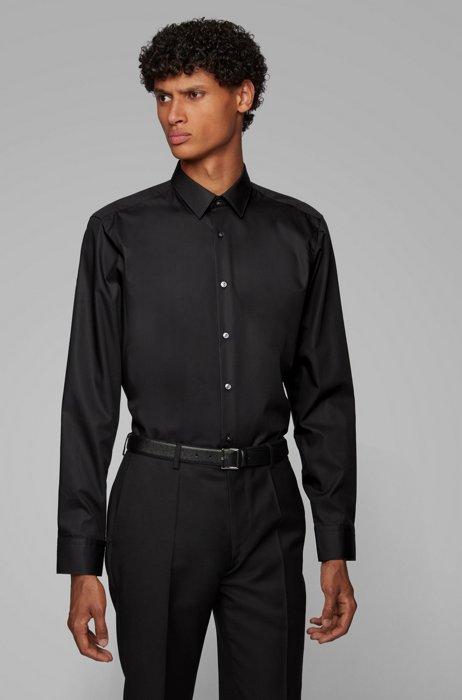 Chemise Regular Fit en coton facile à repasser, Noir