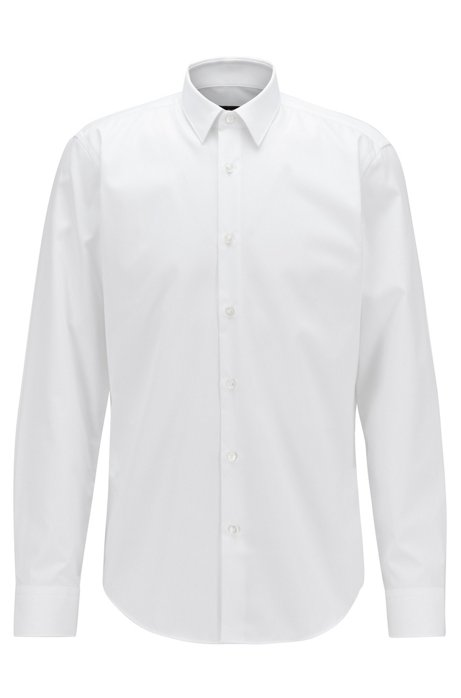 Regular-fit shirt in easy-iron Austrian cotton, White