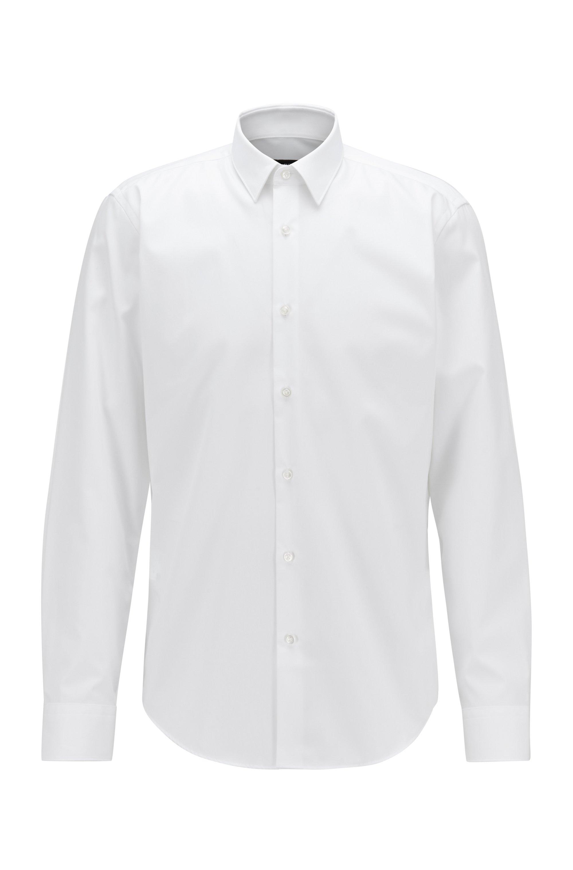 Chemise Regular Fit en coton facile à repasser, Blanc