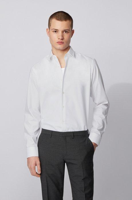 Regular-Fit Hemd aus bügelleichter Baumwolle, Weiß