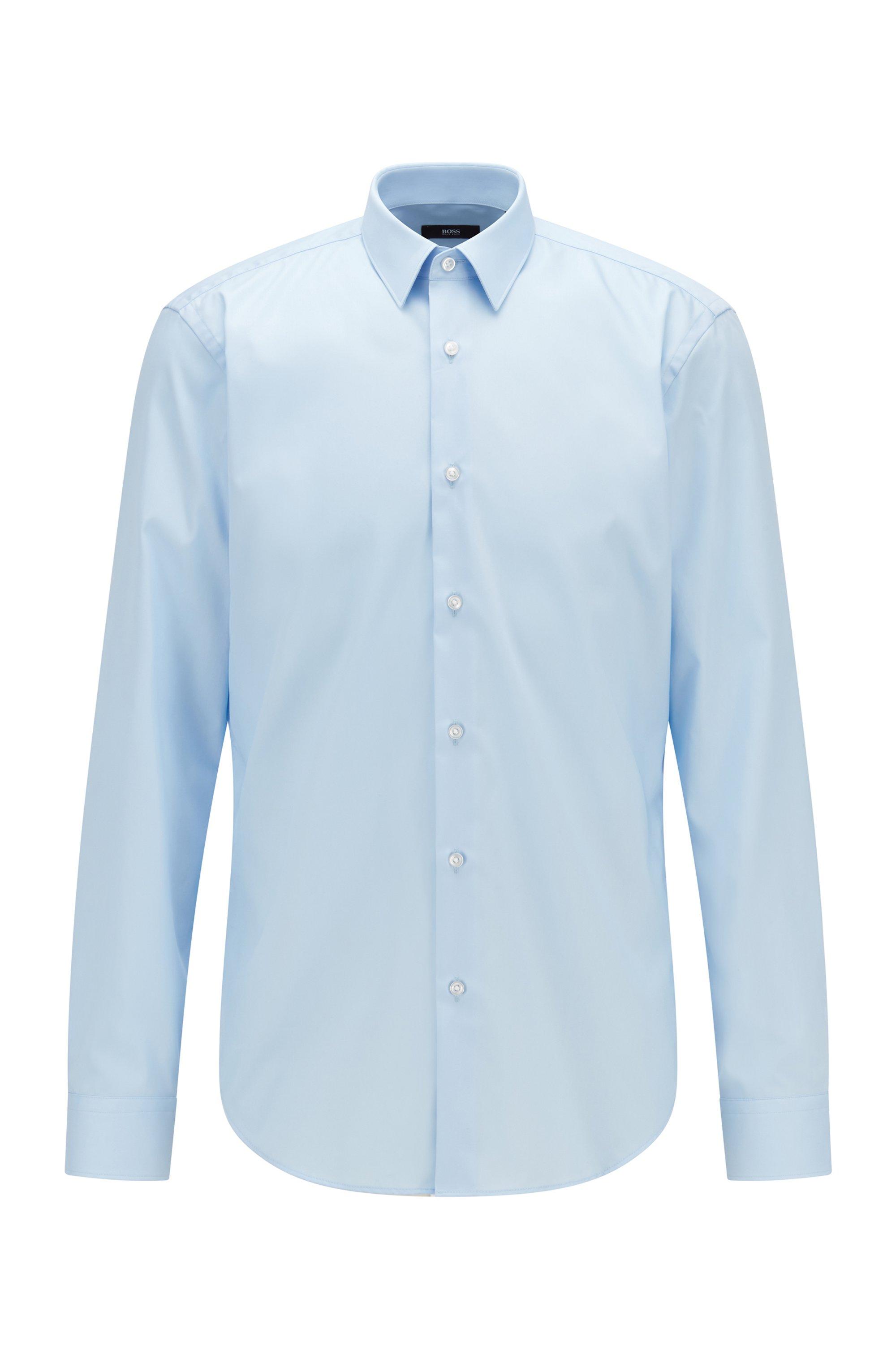 Chemise Regular Fit en coton facile à repasser, bleu clair
