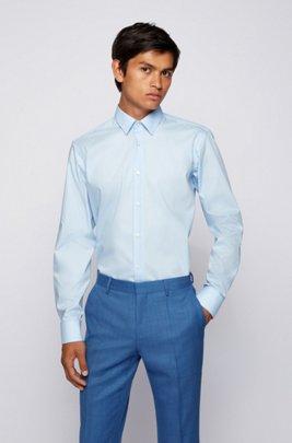 Camicia regular fit in cotone facile da stirare, Celeste