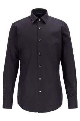 Slim-fit shirt in easy-iron cotton, Dark Blue