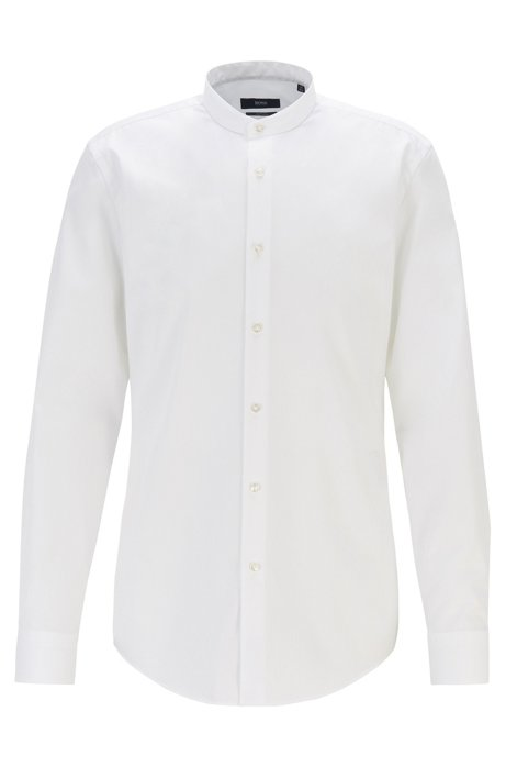 Slim-fit shirt in easy-iron cotton with stand collar, White