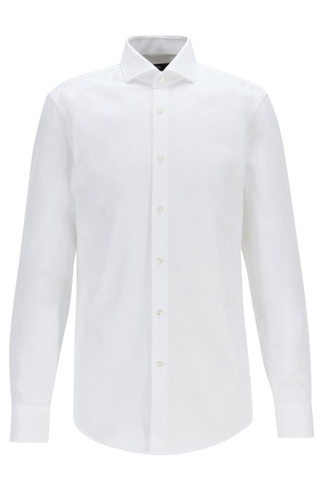 Slim-fit shirt in micro-structured Italian cotton, White