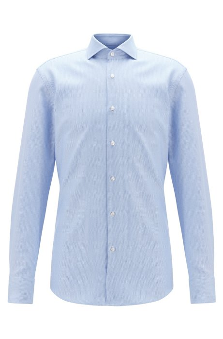 Slim-fit shirt in two-coloured Italian twill, Light Blue