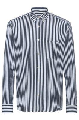 Relaxed-fit overhemd van gestreept Italiaans denim, Bedrukt