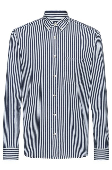 Camicia relaxed fit in denim italiano a righe, A disegni