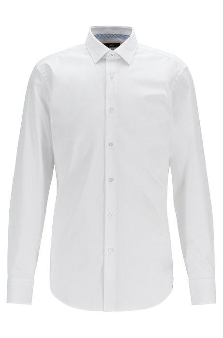 Chemise Slim Fit en popeline de coton facile à repasser, Blanc