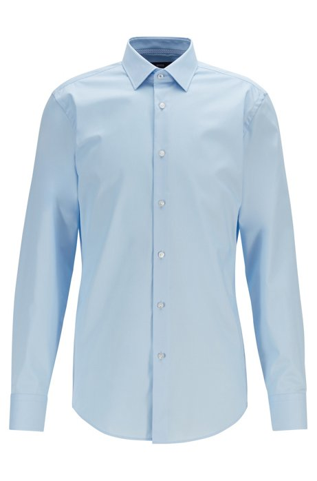 Slim-fit shirt in easy-iron cotton poplin, Light Blue