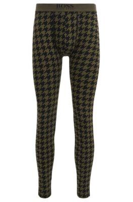 Lange Unterhose aus Stretch-Jersey mit Hahnentritt-Print, Dunkelgrün