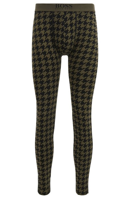 Stretch-cotton long johns with houndstooth print, Dark Green