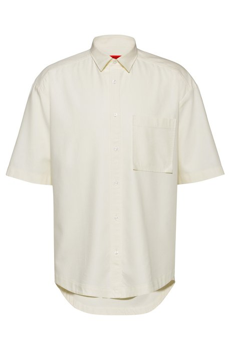 Relaxed-fit short-sleeved shirt with patch pocket, Natural