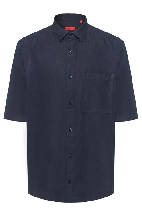 Relaxed-fit short-sleeved shirt with patch pocket, Dark Blue