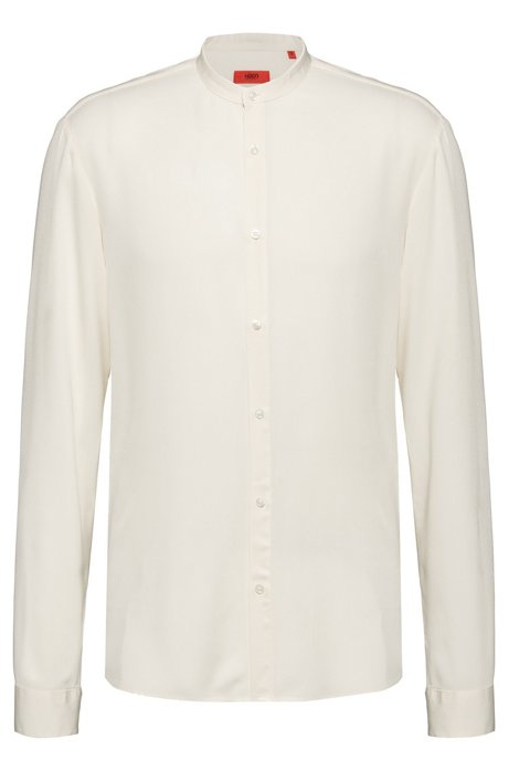 Extra-slim-fit shirt with stand collar, Natural