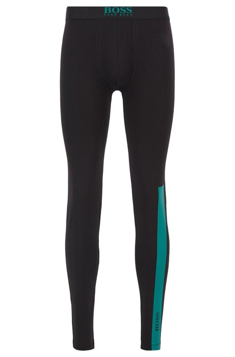Long johns in stretch cotton with logo details, Black