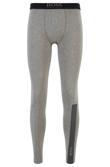 Long johns in stretch cotton with logo details, Grey