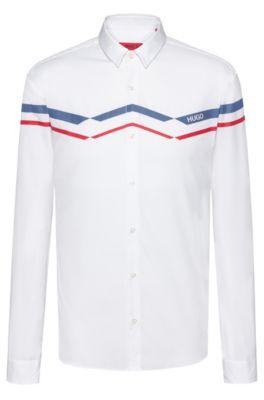 Chemise Extra Slim Fit en coton à imprimé en zigzag, Blanc