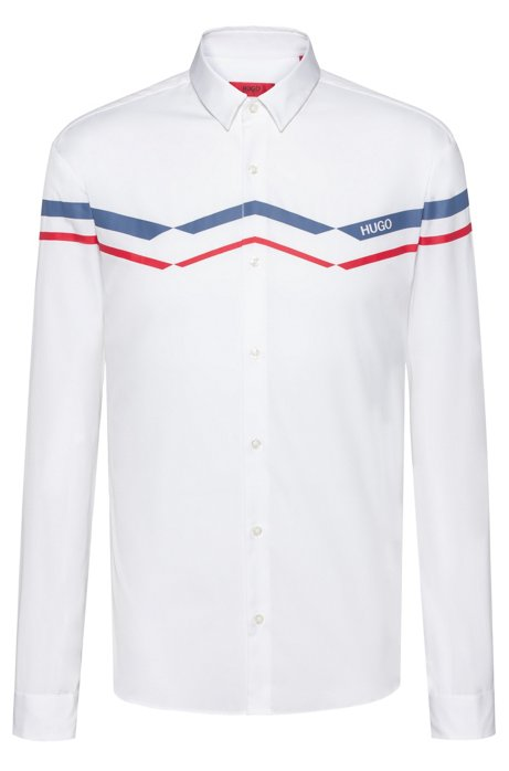 Extra-slim-fit cotton shirt with zig-zag print, Open White