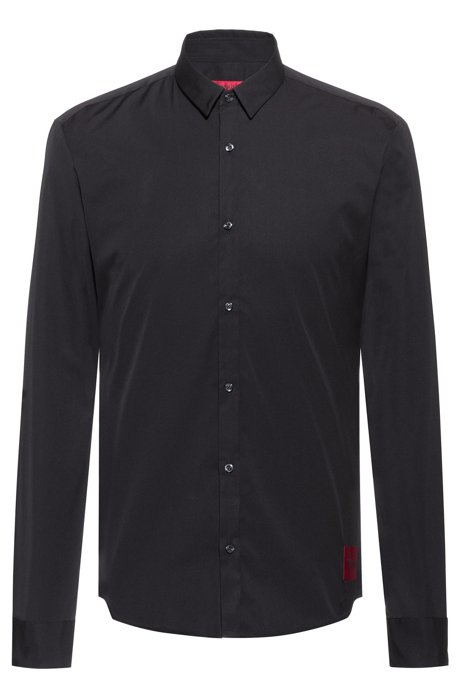 Extra-slim-fit cotton shirt with reverse-logo label, Black