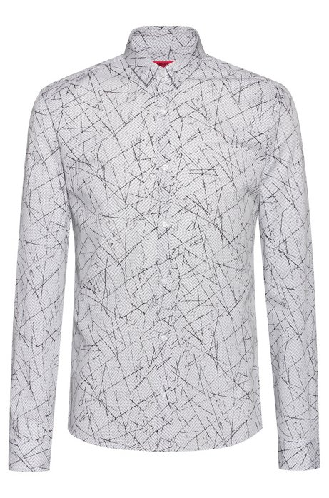 Extra-slim-fit shirt with all-over print, Patterned