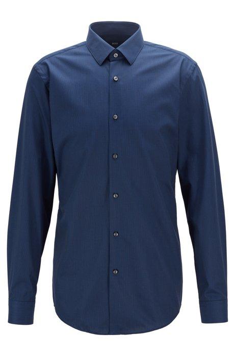 Slim-Fit Hemd aus Baumwolle mit Aloe-Vera-Finish, Dunkelblau