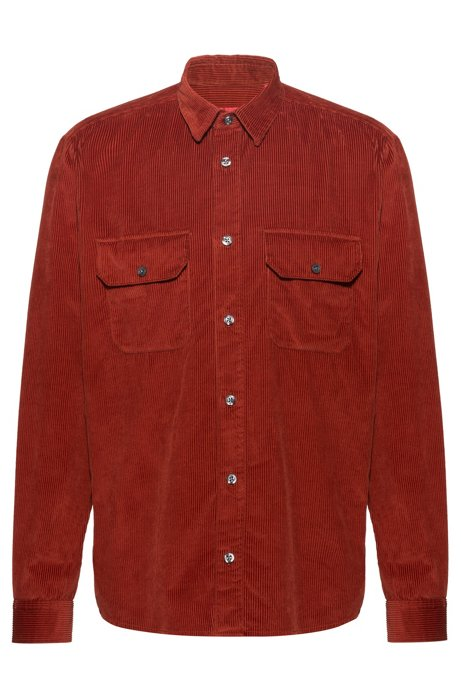Relaxed-fit shirt with twin pockets in cotton corduroy, Brown