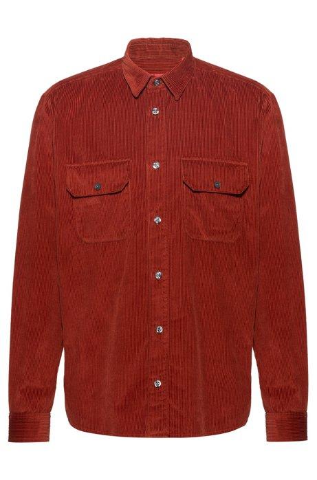 Relaxed-fit overhemd met twee zakken van katoenen corduroy, Bruin