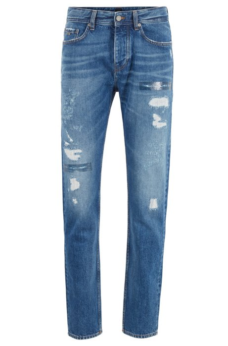 Tapered-fit jeans in Italian denim with customised details, Blue