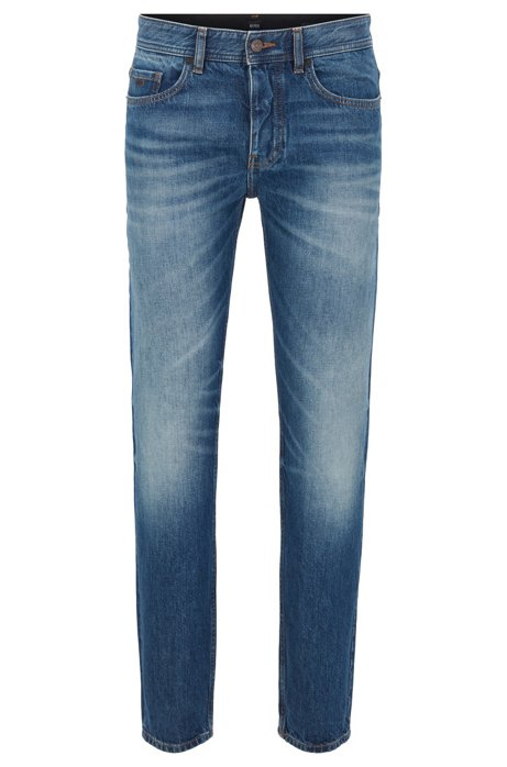 Tapered-fit jeans in dark-blue washed Italian denim, Blue